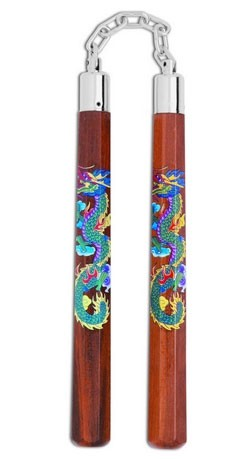 "Nunchaku in Legno ""Green Dragon"""